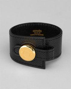 Hermes Leather & Gold-Plated Bracelet