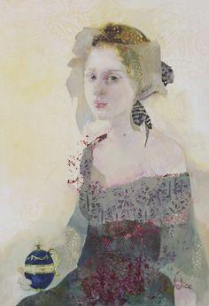 L'oeuf de Faberger, Huile sur toile de Françoise de Felice, 2017