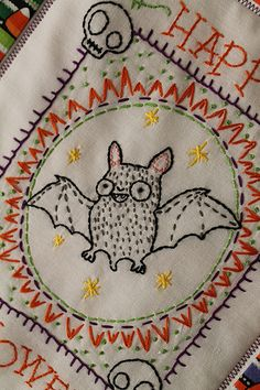 the pattern is on my template board.Love this wacky, wild-eyed bat! Andrea Zuill designs great embroidery patterns and does fabulous illustrations! Find her on etsy @ Badbird. Hand Embroidery Patterns, Embroidery Art, Cross Stitch Embroidery, Cross Stitch Patterns, Embroidery Designs, Embroidery Letters, Embroidery Suits, Halloween Quilts, Halloween Embroidery