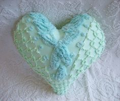 Vintage Chenille Heart Pillow Light Green and by SURELYCHENILLE