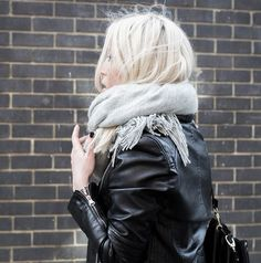 cozy layering with a scarf + leather jacket // winter street style