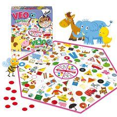 Veo, veo, ¿qué ves?.Juego para encontrar los objetos del mismo color y forma que indique la ruleta. Contiene tablero hexagonal, fichas de 4 colores.