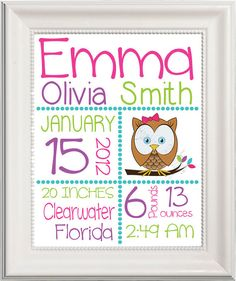 PRINTABLE Baby Girl Birth Announcement, Owl or Bird, Custom Kids Print, Nursery Wall Art, Baby Name Art, Birth Stats Personalized subway ar