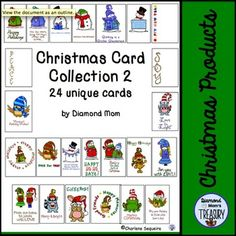 This is a set of 24 unique Christmas cards created using the wonderful seasonal saying from DJ Inkers and the whimsical clipart from Whimsy Workshop Graphics. They are blank inside so that they can be personalized.I made this set 2 cards to a page for smaller sizing and also to use less ink.The cover page shows all the card designs available.