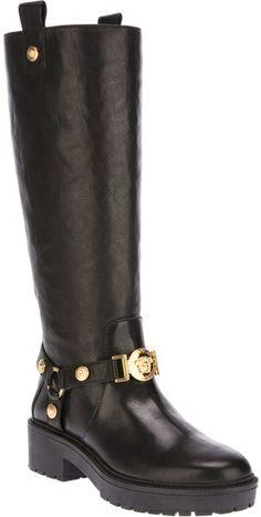a747ce5877df Versace Black Midcalf Biker Boot Biker Boots