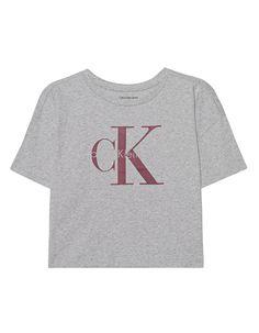 Kurzes T-Shirt mit Label-Print Das gerade und kurz geschnittene, grau melierte T-Shirt ist aus reiner Baumwolle gefertigt und kommt mit geripptem Rundhalsausschnitt, tiefen Schulternähten und charakteristischem rot-grauen Label-Print.  Lässig, vielseitig und sportlich - ein absolutes Lieblingsteil!