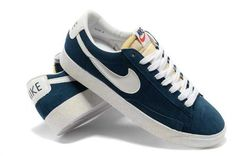 Nike Blazer Low Vintage Suede Premium Mens Shoes Navy White UK Newest