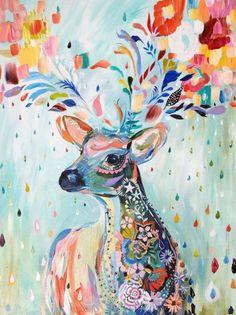 vrolijk geschilderd hert