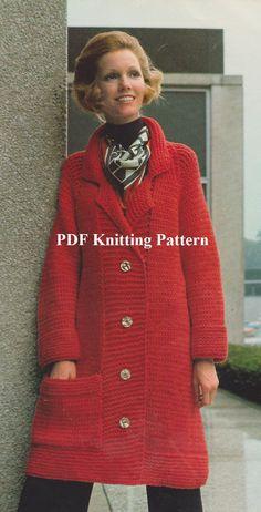 Vintage 1970'S Long Coat Knitted PDF Pattern by KatnaboxCrochet