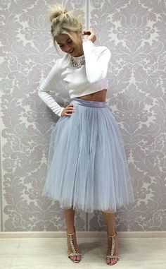 Two Piece Tea Length Prom Dress , Tulle Tulle Prom Dress, Party Dress, Prom Dresses, Christmas Party Outfits, Christmas Dress Women, Look Formal, Tea Length Dresses, Trendy Dresses, Festival Outfits