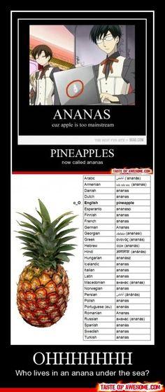 Haha who lives under anana under the sea