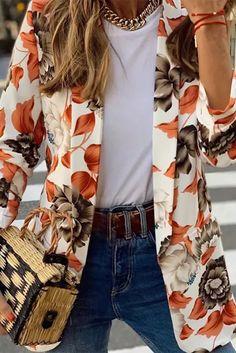 Women Autumn Spring Flower Printed Elegant Women Casual Long Sleeve - #coatsforwomen #coatsforwomenwinter #coatsforwomencasual #coatsforwomenclassy #coatsforwomenclassyelegant #coatsjackets #coatsjacketswomen #coatsforwomen2020 #coatsforwomen2020fashiontrends #streettide Cool Outfits, Fashion Outfits, Womens Fashion, Fashion Trends, Casual Blazer, Casual Wear, Coats For Women, Jackets For Women, Fitness Fashion