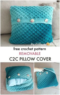 Learn how to crochet an envelope style of pillow case that you can easily remove for washing or change it every time you want. Learn how to crochet an envelope style of pillow case that you can easily remove for washing or change it every time you want. C2c Crochet, Learn To Crochet, Crochet Crafts, Crochet Projects, Crochet Patterns, Crochet Blocks, Afghan Patterns, Square Patterns, Blanket Crochet