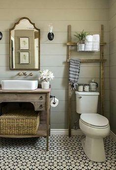 Bathroom decor, bathroom storage, shiplap, green shiplap,  rustic, farmhouse,  modern country, bathroom mirror, ladder, storage, sink, baskets, home decor, DIY decor #afflink
