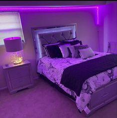 Purple Bedroom Decor, Neon Bedroom, Purple Bedrooms, Bedroom Setup, Bedroom Decor For Teen Girls, Room Design Bedroom, Small Room Bedroom, Room Ideas Bedroom, Dream Teen Bedrooms