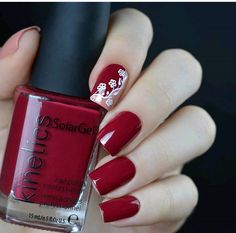 Beautiful dark red with White lacy detail Cute Pink Nails, Sassy Nails, Super Cute Nails, Red Nails, Hair And Nails, Beautiful Nail Art, Gorgeous Nails, Pretty Nails, Red Nail Designs