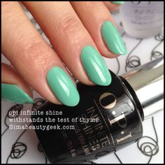 OPI Infinite Shine Withstands the Test of Thyme - for more OPI Infinite Shine swatches, click thru to www.imabeautygeek.com! xoxo!