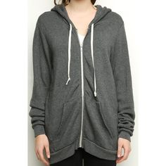 Christina Hoodie (50 CAD) ❤ liked on Polyvore featuring tops, hoodies, zip up hoodies, zip up hoodie, cotton zip up hoodie, relaxed fit tops and cotton hoodies