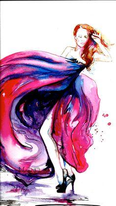 Just Dance Watercolor Illustration -  Original Watercolor Painting