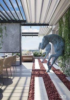 Oni Architects Luxury, elegant and beautiful terrace restaurant. Oni Architects L Rooftop Terrace Design, Terrace Garden Design, Rooftop Decor, Terrace Restaurant, Luxury Restaurant, Terraced Landscaping, Modern Landscaping, Cabin Design, House Design