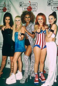 Some 90s style Spice Girls....why on earth did our parents ever let us look up to them? They look like crack whores lol