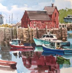 This red building in Rockport — Motif No. 1 — is supposedly the most painted building in America. If you Google it, you'll be amazed at how many renditions of it you can find. For that reason…