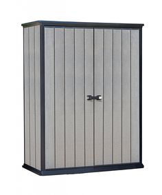 Keter High Store Garden Storage Shed - Grey.: Offering a cutting edge design, the Keter High Store Garden shed is a durable, maintenance… Vertical Storage, Small Storage, Diy Storage, Tall Cabinet Storage, Locker Storage, Plastic Storage Sheds, Plastic Sheds, Garden Storage Shed, Outdoor Storage Sheds
