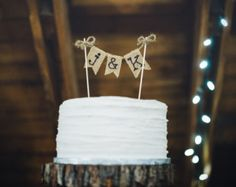 Pastel rústico de cumpleaños personalizado pastel de cumpleaños, arpillera Topper de la torta, torta rústica, Topper de la torta, rústico