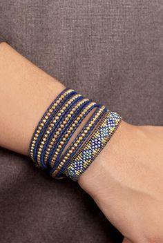 CHAN LUU Blue Mix Fancy Beaded Single Wrap Bracelet