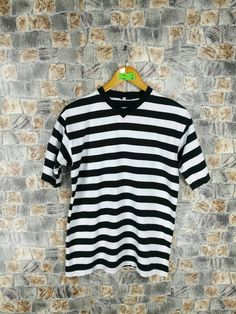 eb8669776 Vintage Prison Jail Stripes Tshirt Medium Women 90's Sportswear Striped  Border Skaters Grunge Streetwear White/Black Tshirt Size M