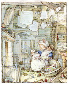 """In this scene, Poppy is keeping herself and her adorable babies warm by the cozy fire. The success of Jill Barklem's first four books """"Brambly Hedge"""" was followed by """"The Secret Staircase"""" in 1983, """"The High Hills"""" in 1986, """"Sea Story"""" in 1990 and """"Poppy's Babies"""" in 1994."""