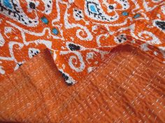Vintage Hand Audacious Bohemian Twin Size Kantha Quilt Handmade Old Sari Bedspread