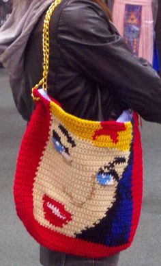 So cheesy... and fantastic!    {Wonder Woman Crochet Purse by MiscLyn}