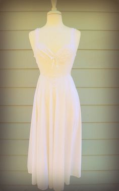 Vintage white lace sheer long night gown by GreenCanyonRoad, $36.00