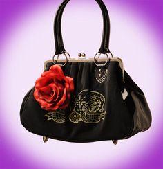 Lucky Me Sugar Skulls Lux De Ville kiss lock bag