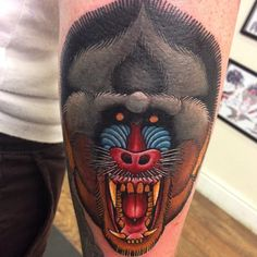 Neotraditional baboon tattoo by Lauren Gow #NeoTraditional #Tattoo #Baboon