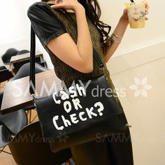 Stylish Women's Crossbody Bag With Letter Print and PU Leather Design