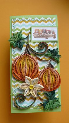 Quilling Happy Thanksgiving Card, Give Thanks Card.  ♦ Size of card: 105x210 mm.  ♦ Has blank white liner inside for your own sentiments. Suitable for any special occasion.  ♦ The card is packaged carefully to ensure a safe delivery a 2 protective cellophane sleeve and the envelope mail from Kraft paper with air bubble film.  ♦ Each card is made individually so the card you receive may differ very slightly from the photograph.  Please let me know through ETSY Conversation if you have any…