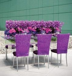 Plexiglass table with a wheatgrass inset and a tabletop arrangement of mokara and phalaenopsis orchids, miniature calla lilies and hydrangea Purple Table, Purple Chair, Reception Design, Reception Decorations, Reception Ideas, Event Ideas, Party Ideas, Tabletop, Plexiglass Table
