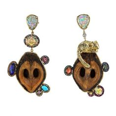 Daniela Villegas Grabbing Love Earrings  $21,500.00 18K Yellow Gold, Black Opals, Sapphires, Alexandrite, Tsavorite, Turquoise and Topaz