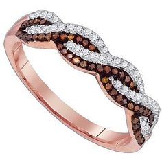 infinity band ring chocolate white brown diamond rose gold promise ring anniversary $329.00