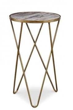 """LR Between pair of chairs 16.5""""dia x 27""""h. Rafael Side Table 