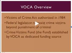 WATCH: Miss the Webinar 'Update on Victims of Crime Act (VOCA)? Watch here: player.subsplash.com/af0bbaf