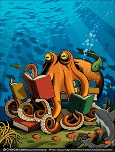 """Octopus""  © Chris GALL, poster artist for the 2007 Los Angeles Times Festival of Books http://www.chrisgall.com/announcement.php  An eight-armed reader! Fine art prints available at link. [Do not remove caption. Required by international copyright law. Credit the artist by name.   Link directly to the artist's site/s. Artists need to eat too! ]  If you already have this pin and no caption, edit the Description & Link by cut & paste ."