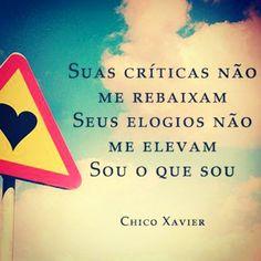 Suas críticas não me rebaixam. Seus elogios não me elevam. Sou o que sou.