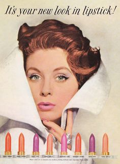"""Suzy Parker for Revlon, 1959.  Suzy and Revlon founder Charles Revson came to HATE each other;  he thought her modeling fees (of $200.00/hour) too high, and she eventually said """"Screw him!"""".  But Suzy out-foxed him by """"clandestinely"""" appearing in subsequent Revlon ads (her 1962 """"Cleopatra"""" ad was one such; """"Stormy PInk"""" with a white horse on a beach another), which *further* incensed him, lol...!!!"""