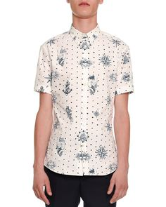Tattoo-Print Short-Sleeve Shirt, White/Navy - Alexander McQueen