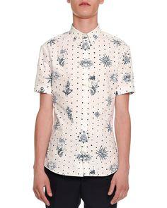 Tattoo-Print Short-Sleeve Shirt, White/Navy - Alexander McQueen