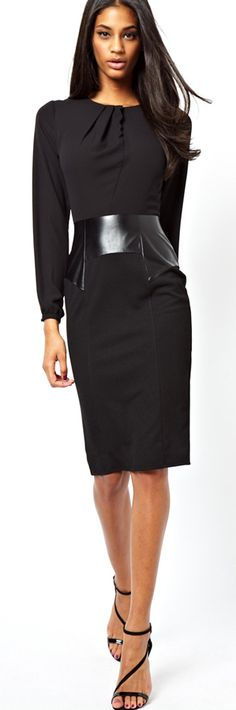 Pencil Dress with black leather accents.  Premium black imitation leather available at: www.MJTrends.com