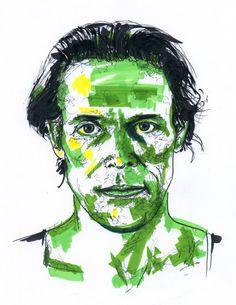 January 4, 2017. Willem Dafoe. Sketch, markers.